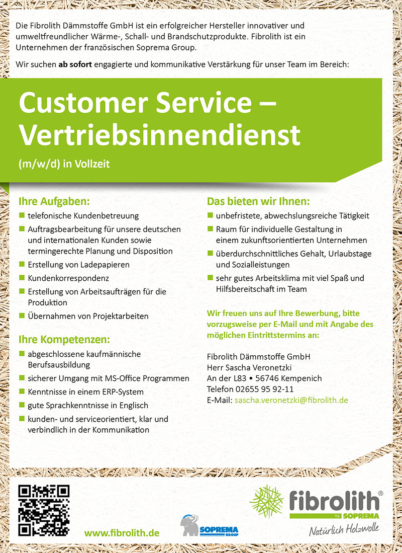 Fibrolith Stellenanzeige Customer Service