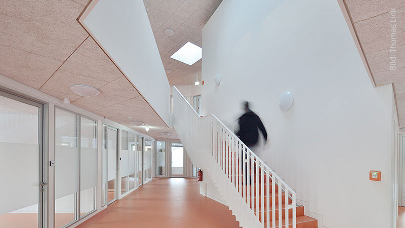 Acoustic ceiling in a catholic clearing office