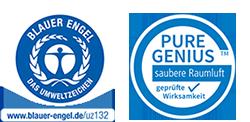 Blauer Engel Siegel und Pure Genius Button